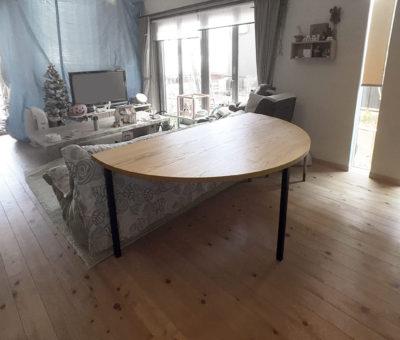 アイアン脚半円テーブル/レッドオーク