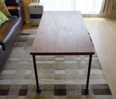 アイアン脚センターテーブル/ウォールナット