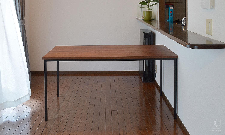 アイアン脚オーダーテーブル/ウォールナット無垢材/スチール脚焼付塗装